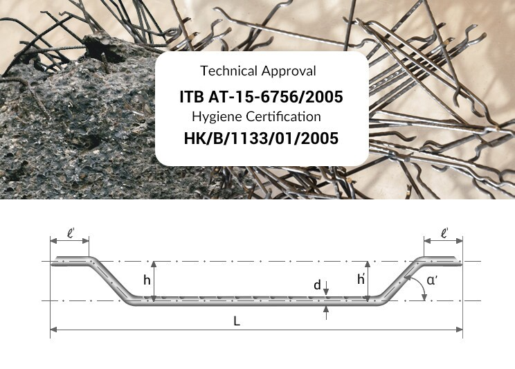 Technical Approval ITB AT-15-6756/2005 and Hygiene Certification: HK/B/1133/01/2005 for steel fibres
